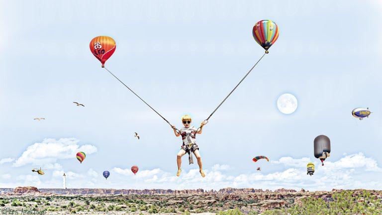 balloon jumping boy