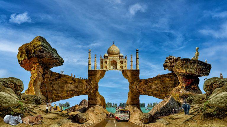 Elefantenbaby und Taj Mahal in Indien