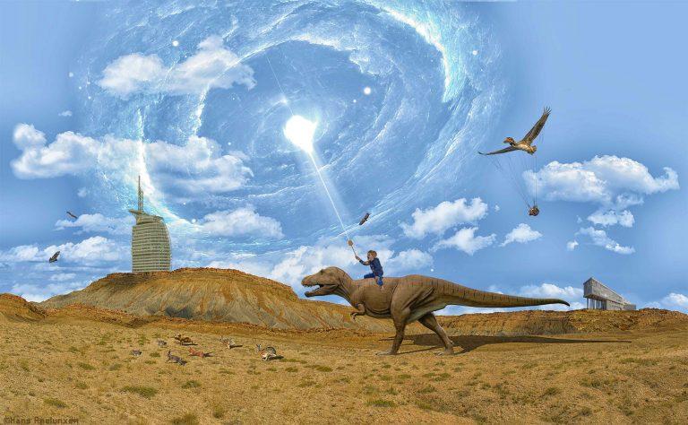 Hasenjagd auf einem Dinosaurier