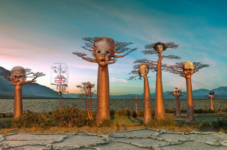 surreale Collage Lebensbäume